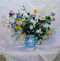 Wild Flowers in a Blue Mug