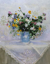 Flowers in a Blue Mug