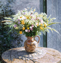 Wild Flowers in a Brown Jug
